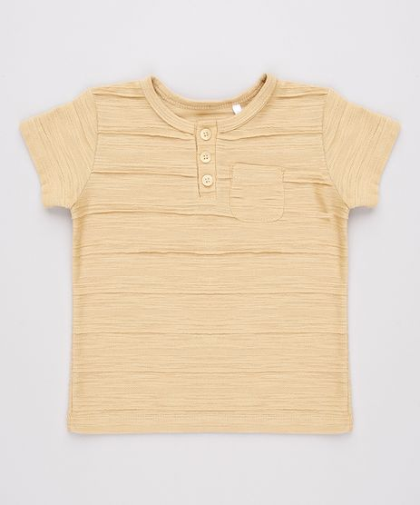 Camiseta-Infantil-Texturizada-com-Bolso-Manga-Curta-Gola-Portuguesa--Bege-9760202-Bege_1