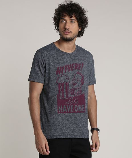 Camiseta-Masculina-Cerveja--Hi-There---Manga-Curta-Gola-Careca-Cinza-Mescla-Escuro-9780498-Cinza_Mescla_Escuro_1