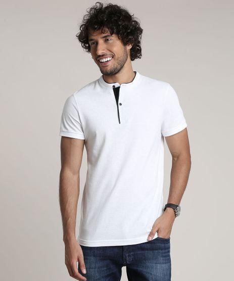 Polo-Masculina-Slim-Fit-em-Piquet-Manga-Curta-Gola-Padre-Branca-9635244-Branco_1