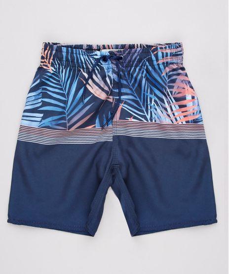 Bermuda-Surf-Infantil-com-Estampa-de-Folhagens-e-Bolso-Azul-Marinho-9728392-Azul_Marinho_1
