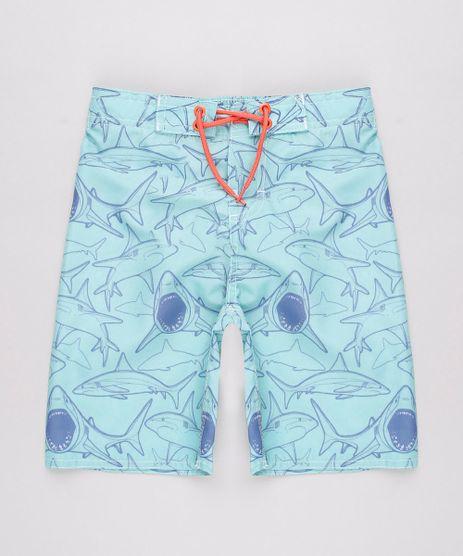 Bermuda-Surf-Infantil-Estampada-de-Tubaroes-com-Bolso-Verde-Claro-9728404-Verde_Claro_1