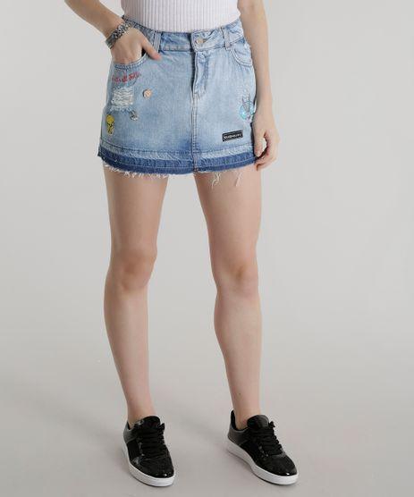 Saia-Jeans-com-Patchs-Looney-Tunes-Azul-Claro-8573336-Azul_Claro_1
