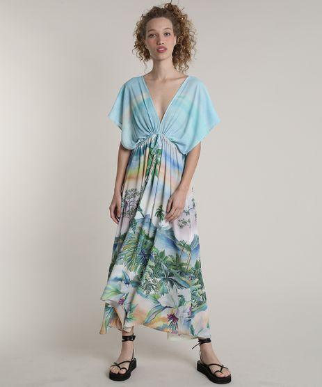 Vestido-Feminino-Blueman-Longo-Assimetrico-Estampado-Paraiso-Manga-Curta-Verde-Agua-9679064-Verde_Agua_1