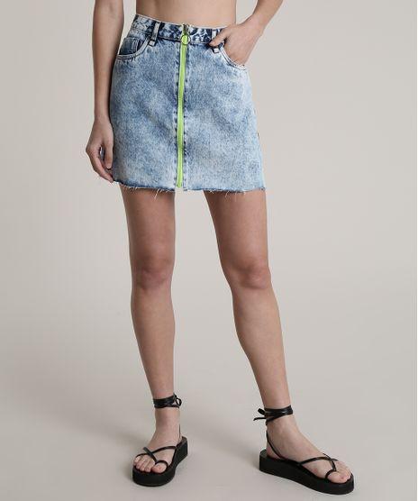 Saia-Jeans-Feminina-Blueman-Curta-com-Ziper-de-Argola-Neon-Azul-Claro-9810527-Azul_Claro_1