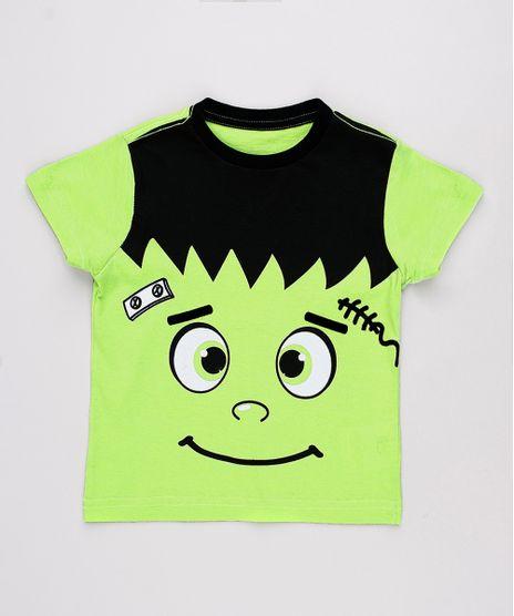 Camiseta-Infantil-Halloween-Frankenstein-Manga-Curta-Verde-9702935-Verde_1