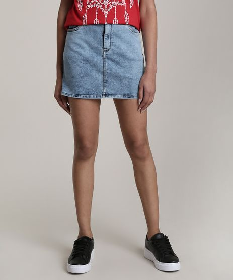 Saia-Jeans-Feminina-Curta-com-Bolsos-Azul-Medio-9695301-Azul_Medio_1