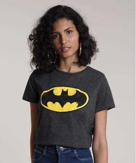 Blusa-Feminina-Batman-Manga-Curta-Decote-Redondo-Cinza-Mescla-Escuro-9722565-Cinza_Mescla_Escuro_1