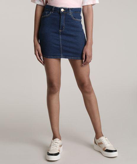 Saia-Jeans-Feminina-Curta-com-Bolsos-Azul-Escuro-9695300-Azul_Escuro_1