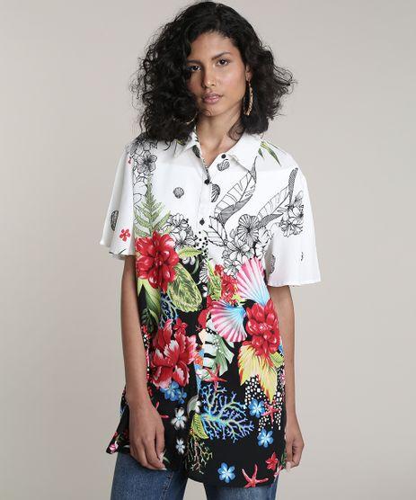 Camisa-Feminina-Ampla-Alongada-Estampada-Floral-Tropical-Manga-Curta--Off-White-9672422-Off_White_1