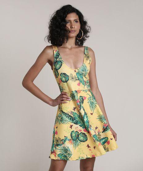 Vestido-Feminino-Curto-Evase-Estampado-de-Folhagem-Alcas-Medias-Amarelo-9708588-Amarelo_1