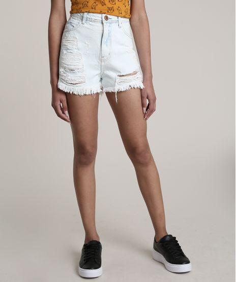 Short-Jeans-Feminino-Cintura-Super-Alta-Destroyed-Azul-Claro-9766242-Azul_Claro_1