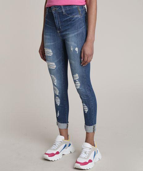 Calca-Jeans-Feminina-Sawary-Cropped-Cintura-Alta-Destroyed-com-Strass-Azul-Medio-9811692-Azul_Medio_1