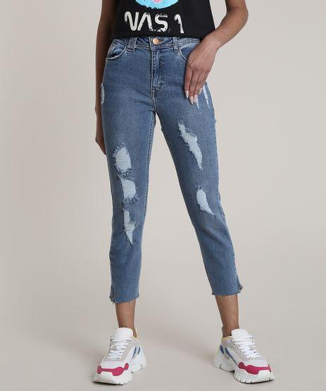 Calca-Jeans-Feminina-Cropped-Cintura-Alta-Destroyed-Azul-Medio-9701272-Azul_Medio_1