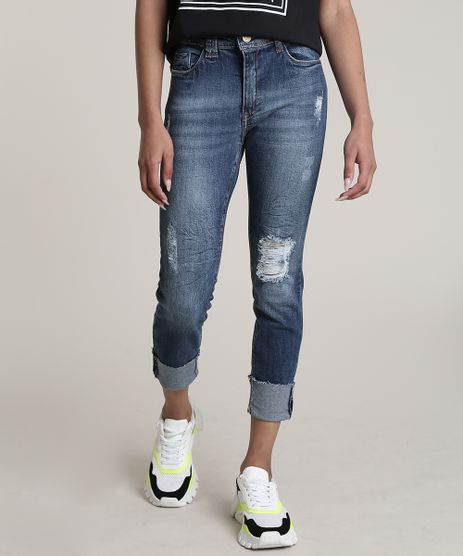 Calca-Jeans-Feminina-Cropped-Cintura-Alta-Destroyed-com-Barra-Dobrada-Azul-Escuro-9701274-Azul_Escuro_1