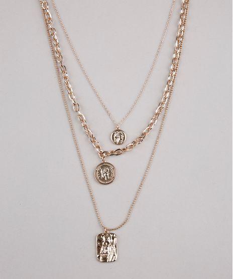 Colar-Feminino-Triplo-com-Medalhas-Dourado-9653721-Dourado_1