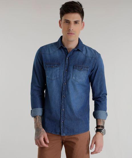 65c3621f11 Camisa-Jeans-Azul-Medio-8534574-Azul Medio 1