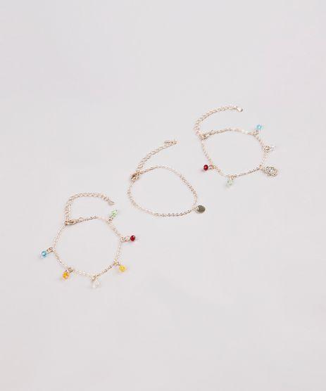 Kit-de-3-Pulseiras-Femininas-Folheadas-com-Pingentes-e-Micangas-Dourado-9657465-Dourado_1