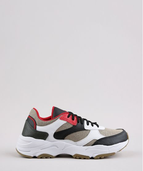 Tenis-Chunky-Masculino-Oneself-com-Recortes-Bege-9665712-Bege_1
