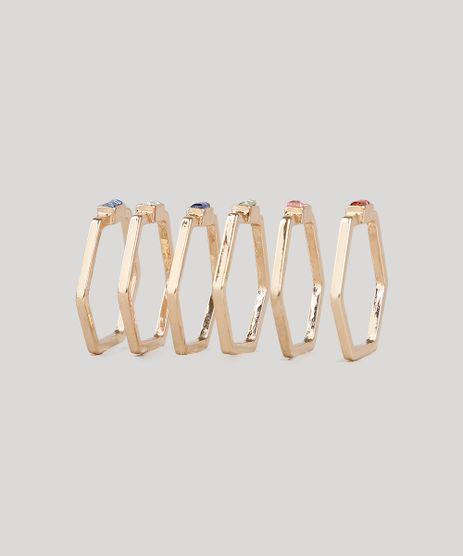 Kit-de-6-Aneis-Femininos-Geometricos-com-Pedra-Zirconia-Dourado-9650261-Dourado_1