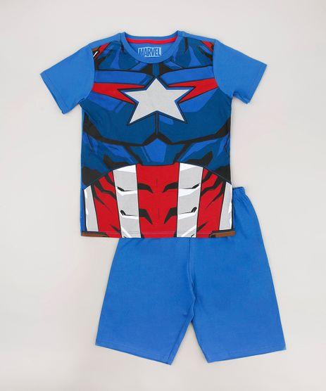 Pijama-Infantil-Capitao-America-Manga-Curta-Azul-9633471-Azul_1
