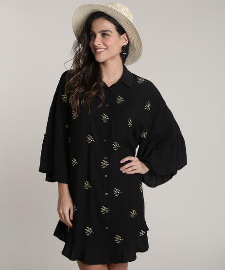 Camisa-Feminina-Salinas-com-Bordado-de-Gaivota-Manga-7-8--Preto-9679071-Preto_1