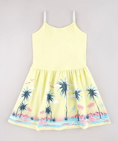 Vestido-Infantil-Estampado-Tropical-com-Lurex-Alcas-Finas-Amarelo-9745061-Amarelo_1