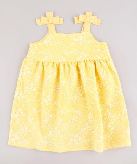 Vestido-Infantil-Estampado-Floral-com-Lacos-Alca-Media-Amarelo-9664214-Amarelo_1