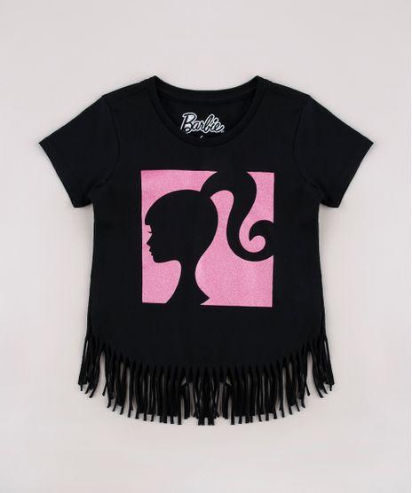 Blusa-Infantil-Barbie-com-Glitter-e-Franjas-Manga-Curta-Preta-9757211-Preto_1