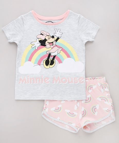 Pijama-Infantil-Minnie-Manga-Curta-Cinza-Mescla-Claro-9751959-Cinza_Mescla_Claro_1