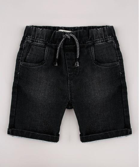 Bermuda-Jeans-Infantil-em-Moletom-com-Bolsos-Preta-9761846-Preto_1