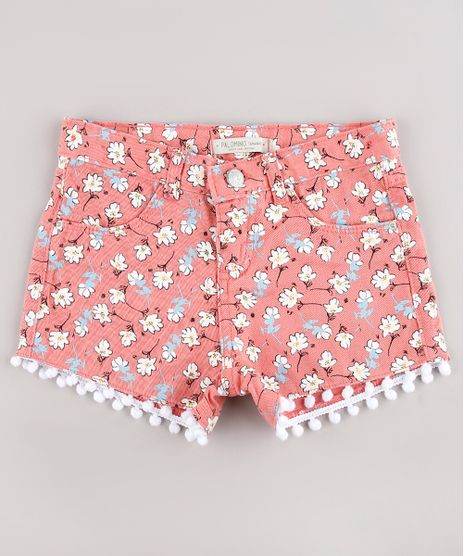 Short-de-Sarja-Infantil-Estampado-Floral-com-Pompom-Coral-9743121-Coral_1