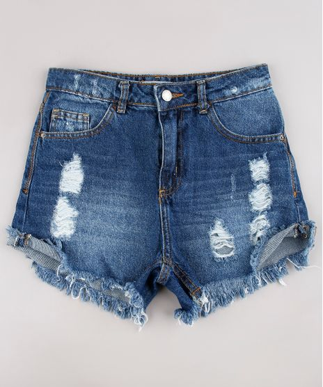 Short-Jeans-Infantil-Destroyed-com-Barra-Desfiada-Azul-Escuro-9734894-Azul_Escuro_1