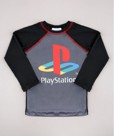 Camiseta-de-Praia-Infantil-Playstation-Raglan-Manga-Longa-Chumbo-9741541-Chumbo_1
