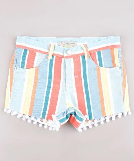 Short-de-Sarja-Infantil-Listrado-com-Pompom-Azul-9743120-Azul_1