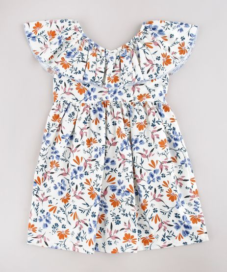 Vestido-Infantil-Estampado-Floral-com-Babado-Manga-Curta-Off-White-9752691-Off_White_1