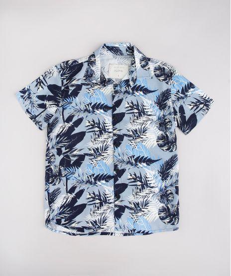 Camisa-Infantil-Estampada-de-Folhagem-Manga-Curta-Azul-9774691-Azul_1
