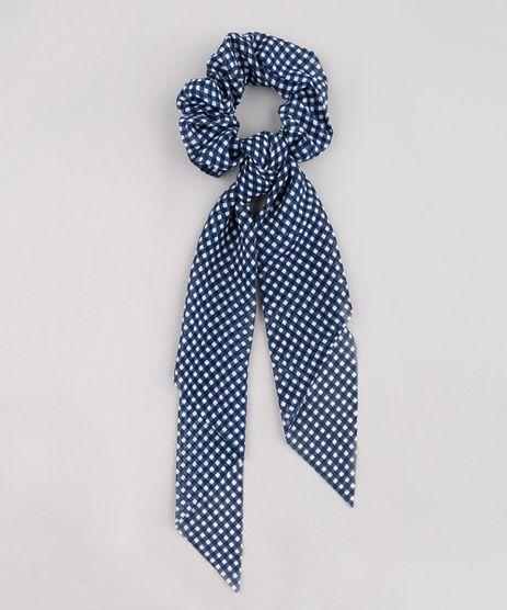 Elastico-de-Cabelo-Scrunchie-Estampado-Xadrez-com-Lenco-Azul-9649514-Azul_1