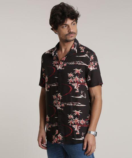 Camisa-Masculina-Tradicional-Estampada-Tropical-com-Esqueleto-Manga-Curta-Preta-9729734-Preto_1