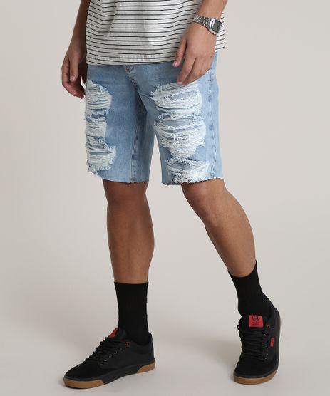 Bermuda-Jeans-Masculina-Slim-Destroyed-com-Bolsos-Azul-Claro-9781866-Azul_Claro_1