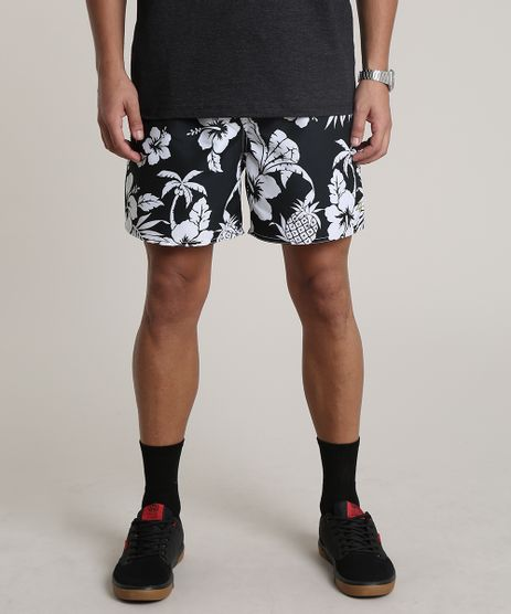 Short-Masculino-Estampado-Floral-com-Bolso-Preto-9513694-Preto_1