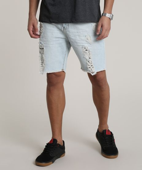 Bermuda-Jeans-Masculina-Slim-Destroyed-com-Bolsos-Azul-Claro-9649218-Azul_Claro_1
