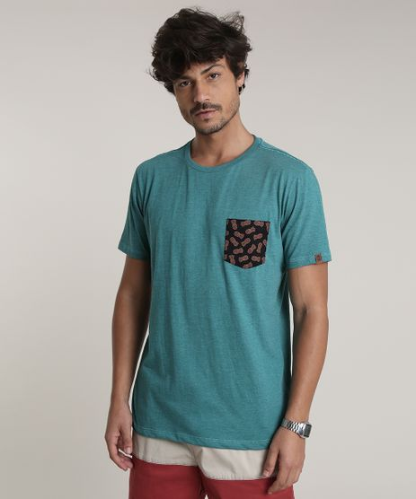 Camiseta-Masculina-com-Bolso-Estampado-de-Abacaxi-Manga-Curta-Gola-Careca-Verde-9736992-Verde_1