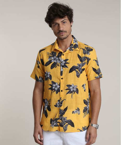 Camisa-Masculina-Tradicional-Estampada-Floral-Manga-Curta-Amarela-9729732-Amarelo_1