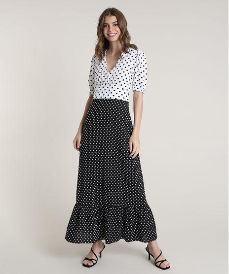 Vestido-Feminino-Mindset-Longo-Bicolor-Estampado-de-Poa-Manga-Curta-Preto-9843828-Preto_1