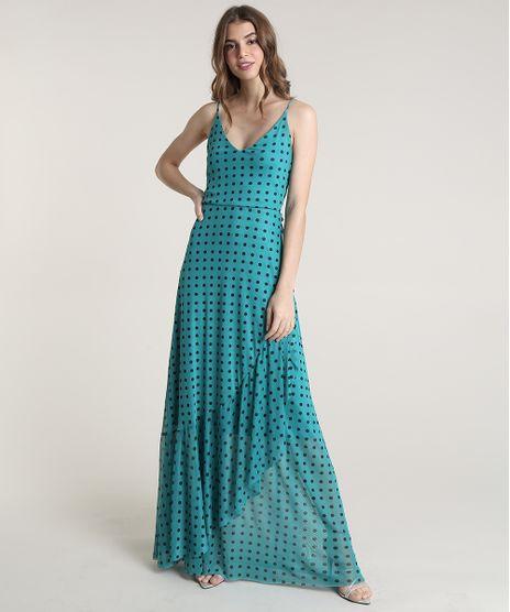 Vestido-Feminino-Mindset-Longo-Estampado-de-Poa-com-Babado-Alcas-Finas-Verde-9838353-Verde_1