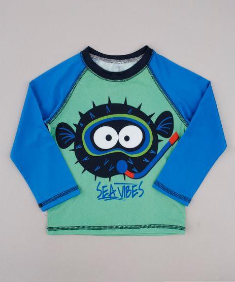 Camiseta-de-Praia-Infantil-Raglan-Peixe-Manga-Longa-Verde-9743258-Verde_1