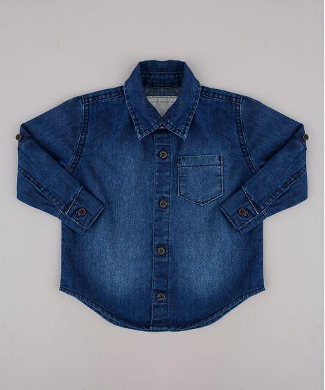 Camisa-Jeans-Infantil-com-Bolso-Manga-Longa-Azul-Medio-9760438-Azul_Medio_1