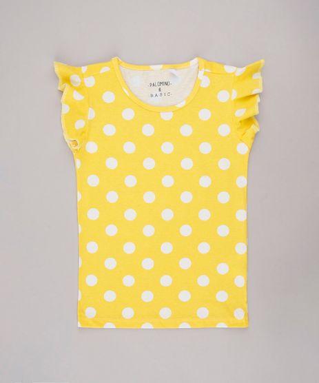 Blusa-Infantil-Basica-Estampada-de-Poa-Manga-Curta-Amarela-9756255-Amarelo_1