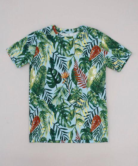 Camiseta-Infantil-Estampada-de-Folhagens-Manga-Curta-Azul-9655968-Azul_1