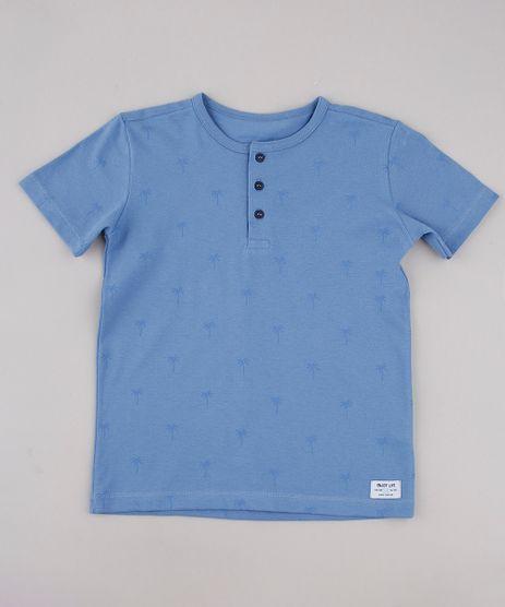 Camiseta-Infantil-Estampada-de-Coqueiros-em-Piquet-Manga-Curta-Gola-Portuguesa-Azul-9778286-Azul_1